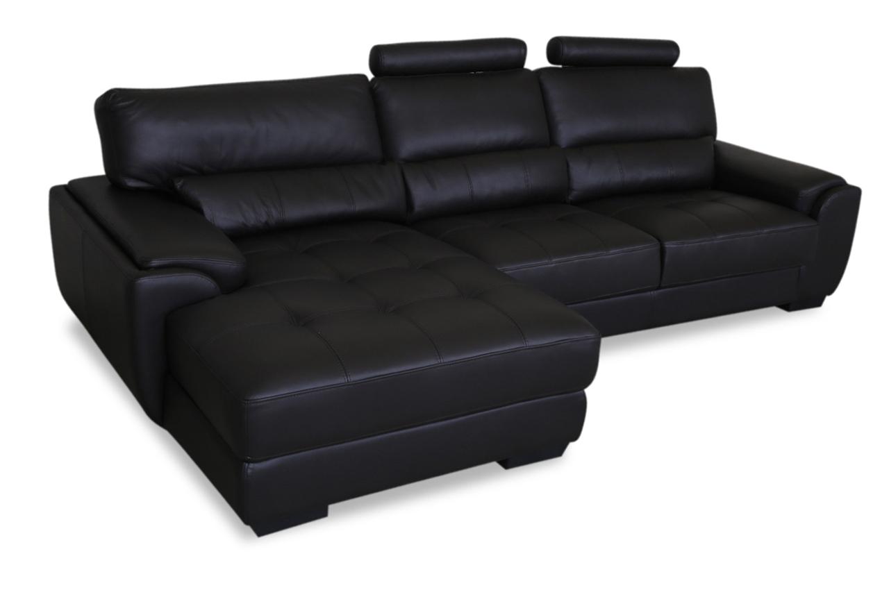 furntrade leder ecksofa 31380 schwarz sofas zum halben. Black Bedroom Furniture Sets. Home Design Ideas