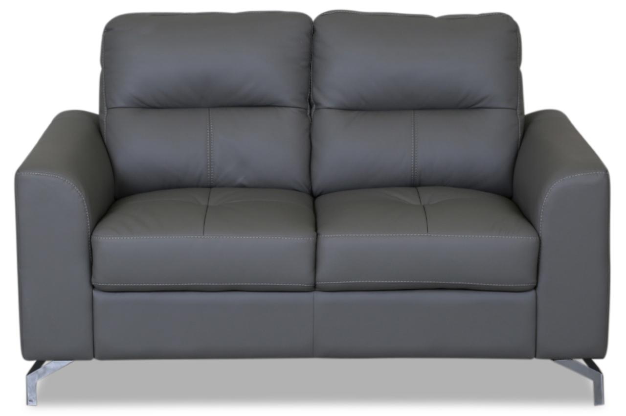 furntrade leder 2er sofa edori grau sofas zum halben preis. Black Bedroom Furniture Sets. Home Design Ideas