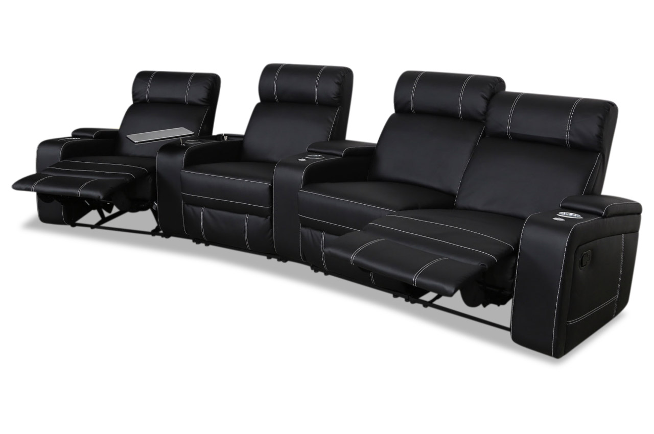 furntrade 3er sofa kino sofa mit sessel mit relax schwarz sofas zum halben preis. Black Bedroom Furniture Sets. Home Design Ideas