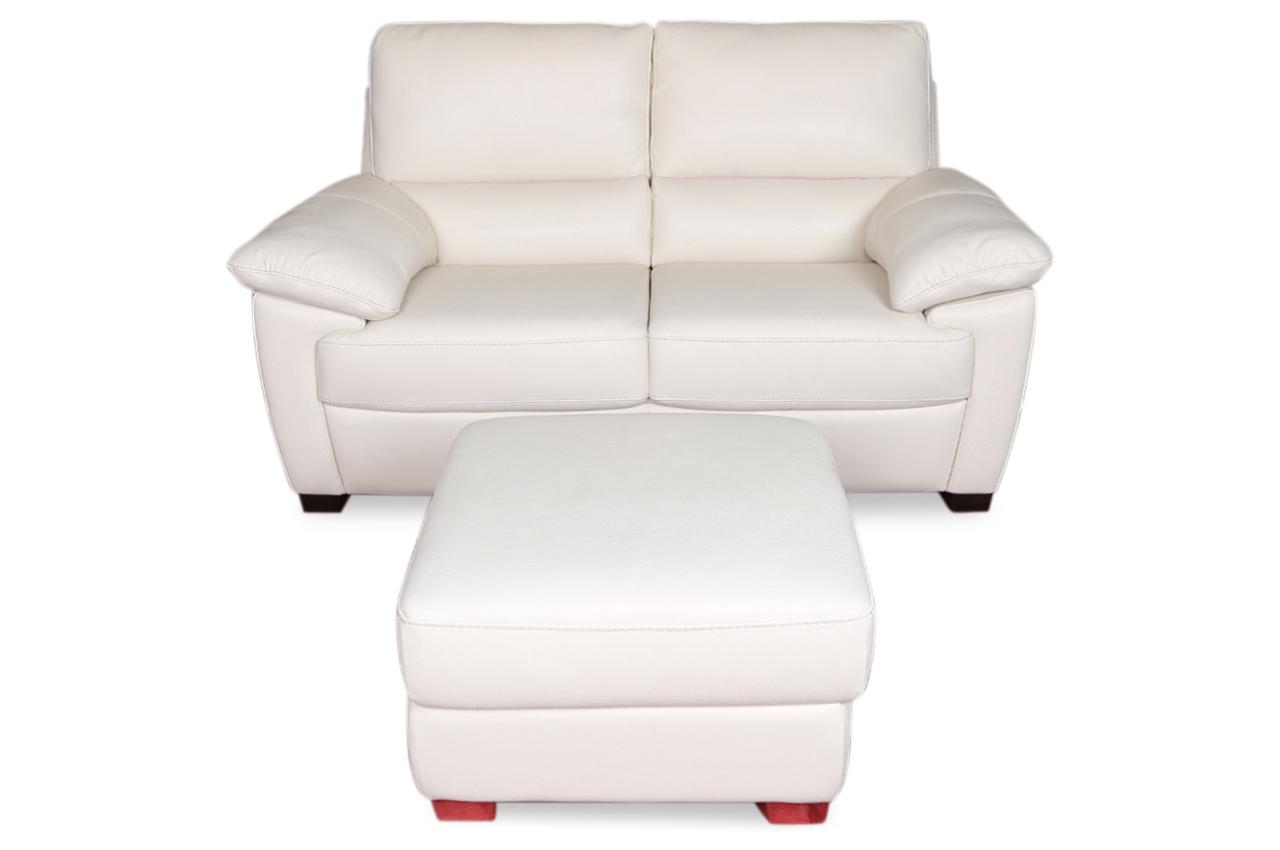 furntrade leder 2er sofa u240 mit hocker weiss sofas zum halben preis. Black Bedroom Furniture Sets. Home Design Ideas
