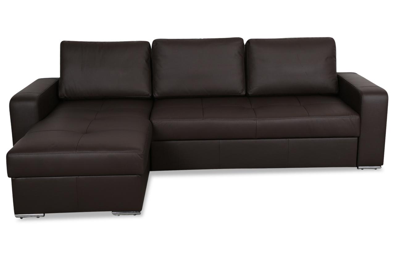 aek leder ecksofa flores mit schlaffunktion braun. Black Bedroom Furniture Sets. Home Design Ideas