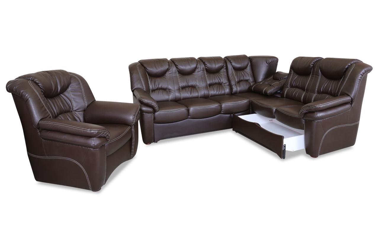 leder rundecke rom mit sessel mit relax und schlaffunktion braun sofas zum halben preis. Black Bedroom Furniture Sets. Home Design Ideas
