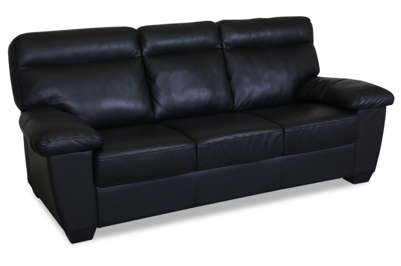 editions leder 3er sofa u182 schwarz mit federkern sofas zum halben preis. Black Bedroom Furniture Sets. Home Design Ideas