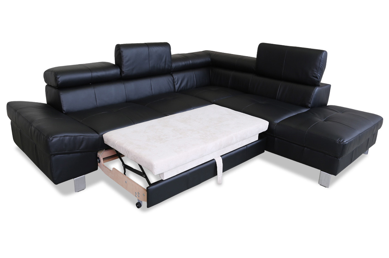 cotta leder ecksofa xl james mit schlaffunktion schwarz sofas zum halben preis. Black Bedroom Furniture Sets. Home Design Ideas