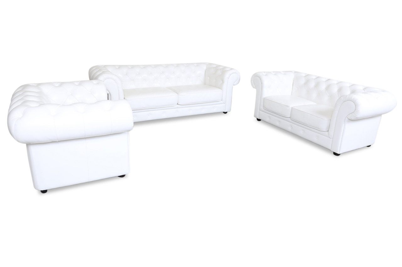 aek leder garnitur 3 2 1 chesterfield weiss sofas zum. Black Bedroom Furniture Sets. Home Design Ideas