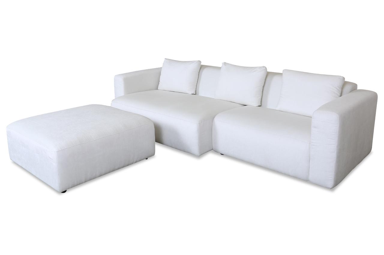 furninova ecksofa alfa mit hocker weiss furninova. Black Bedroom Furniture Sets. Home Design Ideas