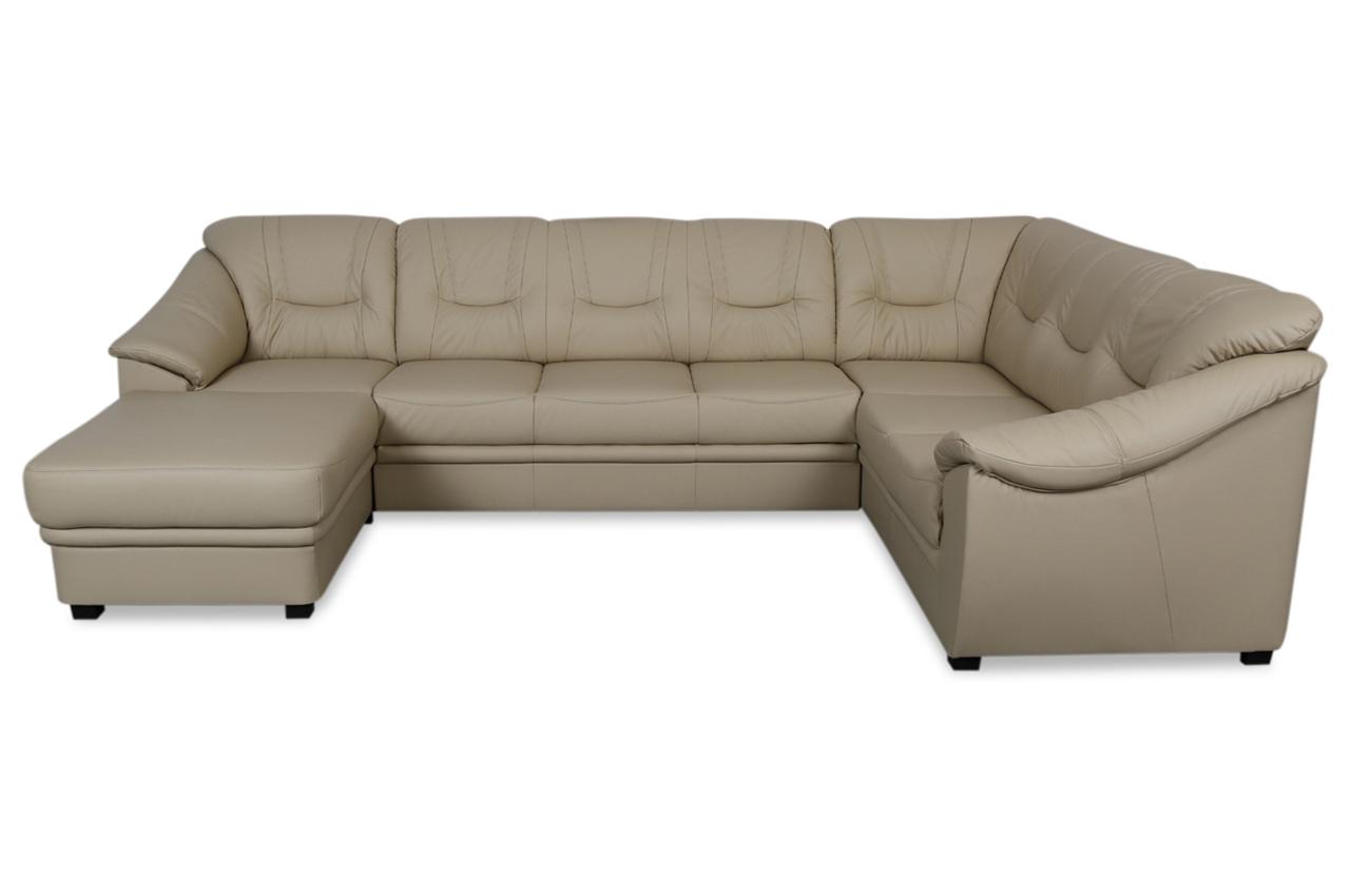 aek leder wohnlandschaft santiago mit schlaffunktion creme sofas zum halben preis. Black Bedroom Furniture Sets. Home Design Ideas