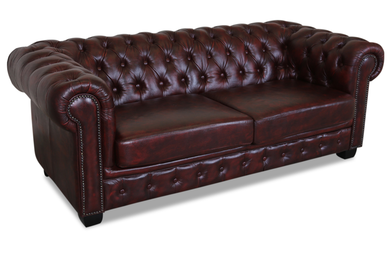 cotta leder 2er sofa canape rot sofas zum halben preis. Black Bedroom Furniture Sets. Home Design Ideas