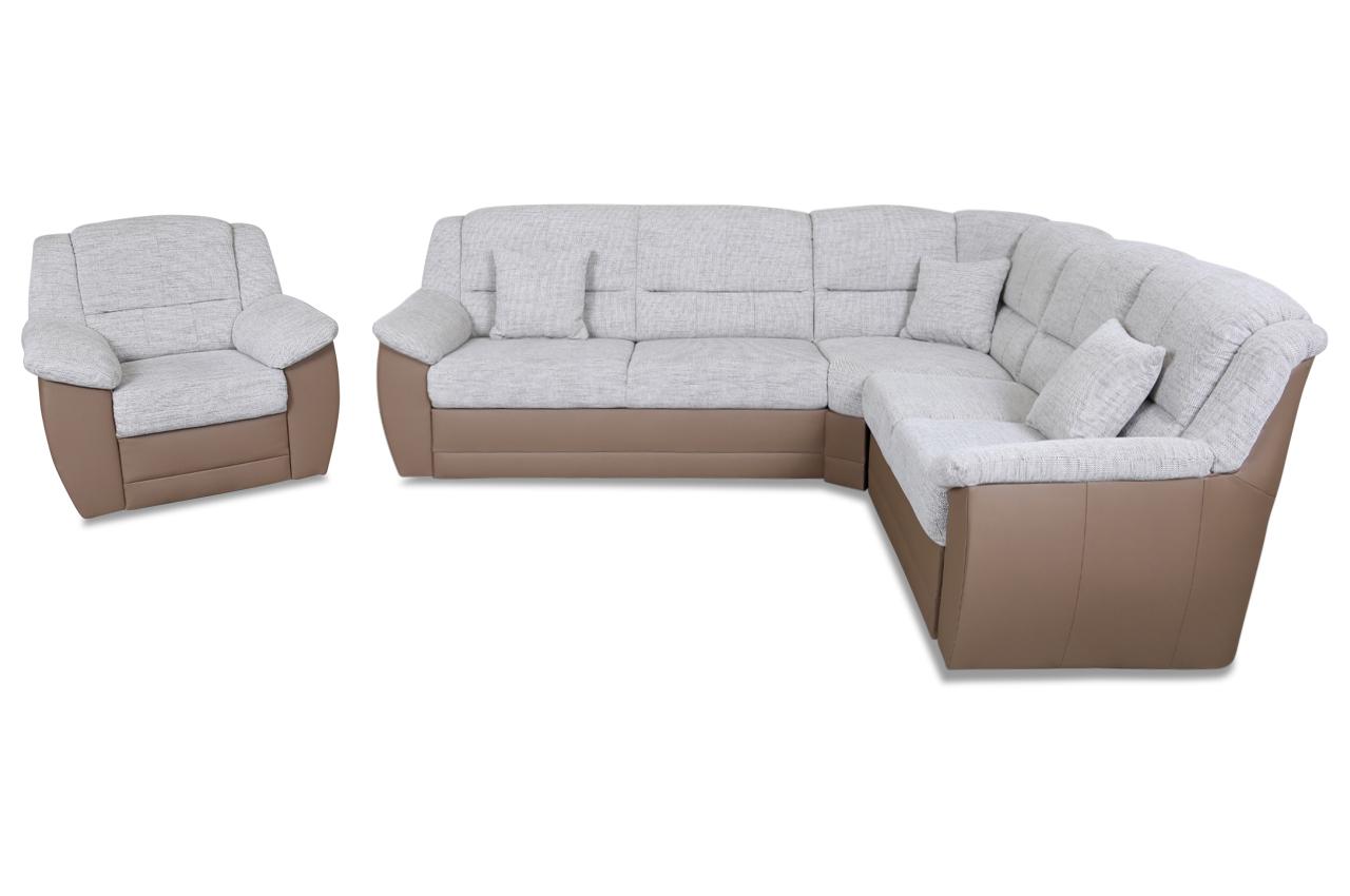 Sessel mit schlaffunktion  Rundecke Selva mit Sessel - mit Schlaffunktion - Braun | Sofas zum ...