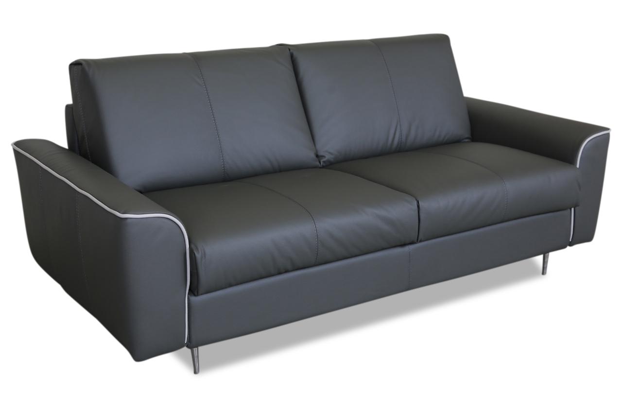 aek leder 3er sofa tikina mit schlaffunktion grau. Black Bedroom Furniture Sets. Home Design Ideas