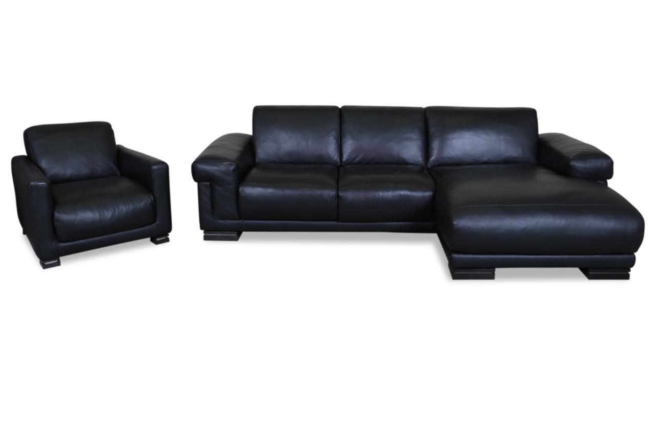editions leder ecksofa 2380 mit sessel schwarz mit federkern sofas zum halben preis. Black Bedroom Furniture Sets. Home Design Ideas