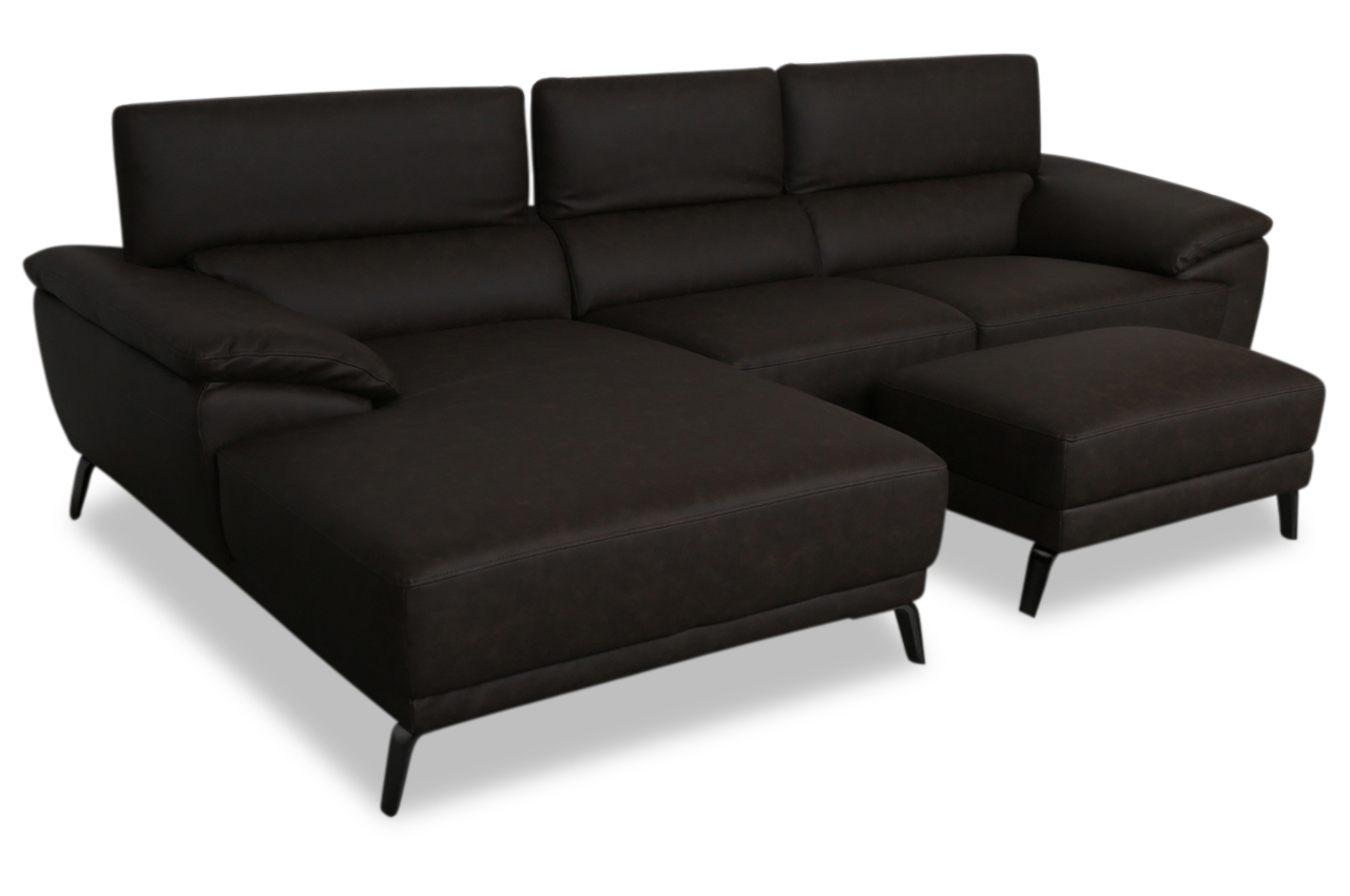 Htl international leder ecksofa 5021b mit hocker braun for Ecksofa leder braun