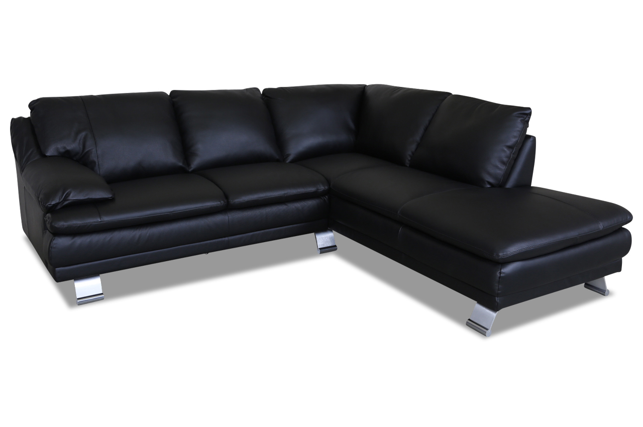 furntrade leder ecksofa xl u118 schwarz mit federkern. Black Bedroom Furniture Sets. Home Design Ideas