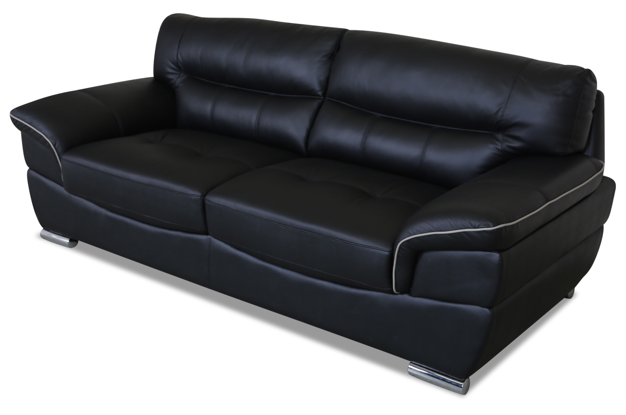 aek leder 3er sofa thibault schwarz sofas zum halben preis. Black Bedroom Furniture Sets. Home Design Ideas
