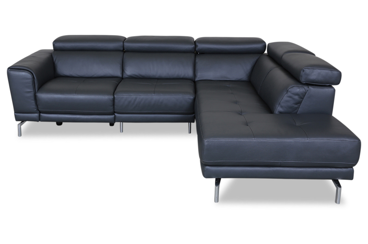 furntrade leder ecksofa xl u144 grau mit federkern. Black Bedroom Furniture Sets. Home Design Ideas