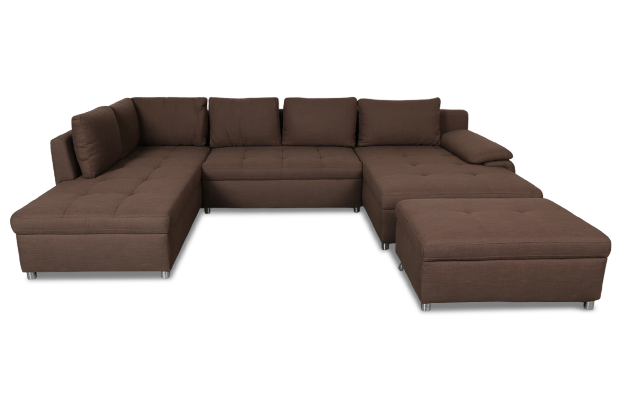 wohnlandschaft mit hocker mit schlaffunktion braun sofas zum halben preis. Black Bedroom Furniture Sets. Home Design Ideas