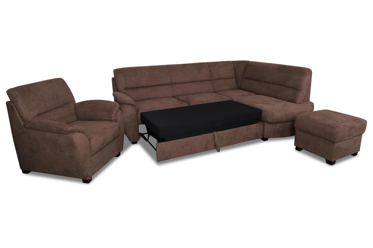 ecksofa mit hocker und sessel braun sofas zum halben preis. Black Bedroom Furniture Sets. Home Design Ideas