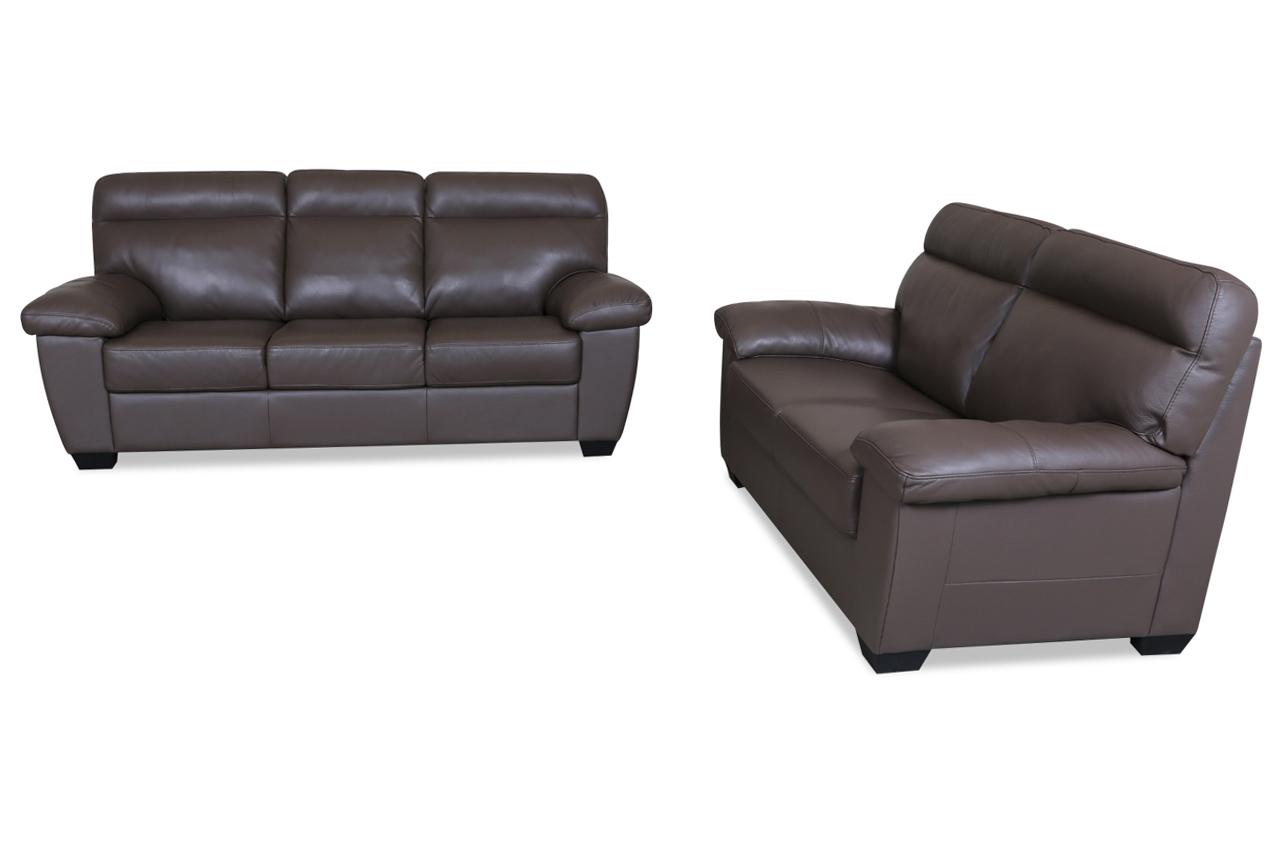 furntrade leder garnitur 3 2 u182 braun mit federkern. Black Bedroom Furniture Sets. Home Design Ideas