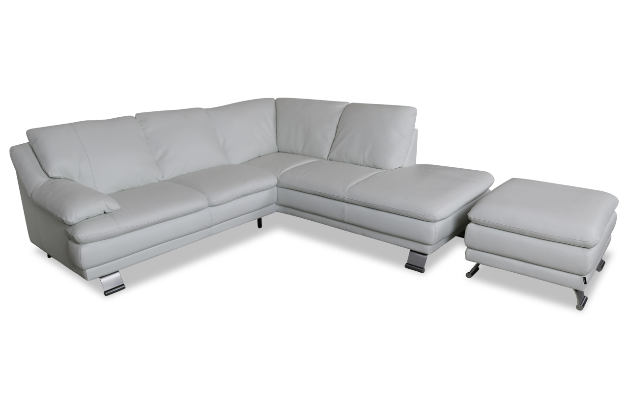 furntrade leder ecksofa xl u118 mit hocker weiss mit federkern sofas zum halben preis. Black Bedroom Furniture Sets. Home Design Ideas
