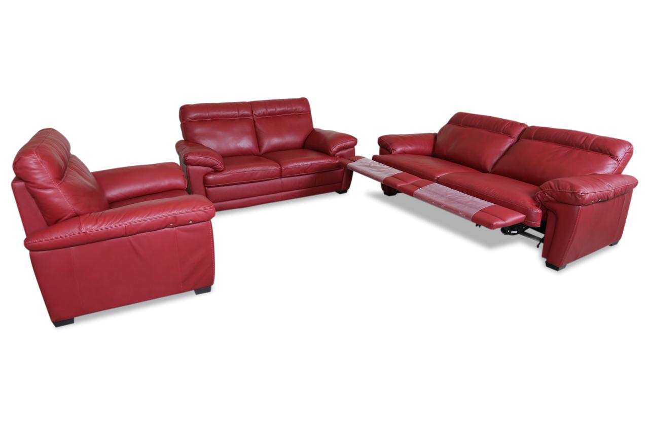 furntrade leder garnitur 3 2 1 u074 rot mit federkern. Black Bedroom Furniture Sets. Home Design Ideas