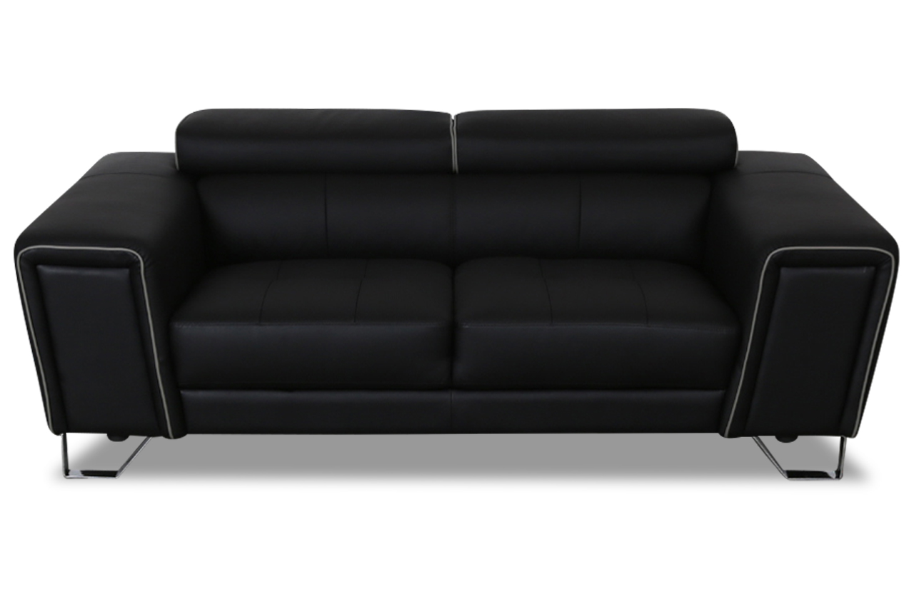 aek leder 2er sofa adari schwarz sofas zum halben preis. Black Bedroom Furniture Sets. Home Design Ideas