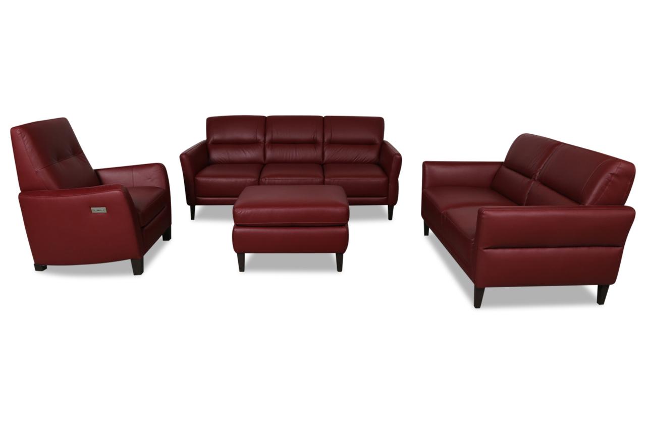 furntrade leder garnitur 3 2 1 z294 mit hocker rot mit. Black Bedroom Furniture Sets. Home Design Ideas