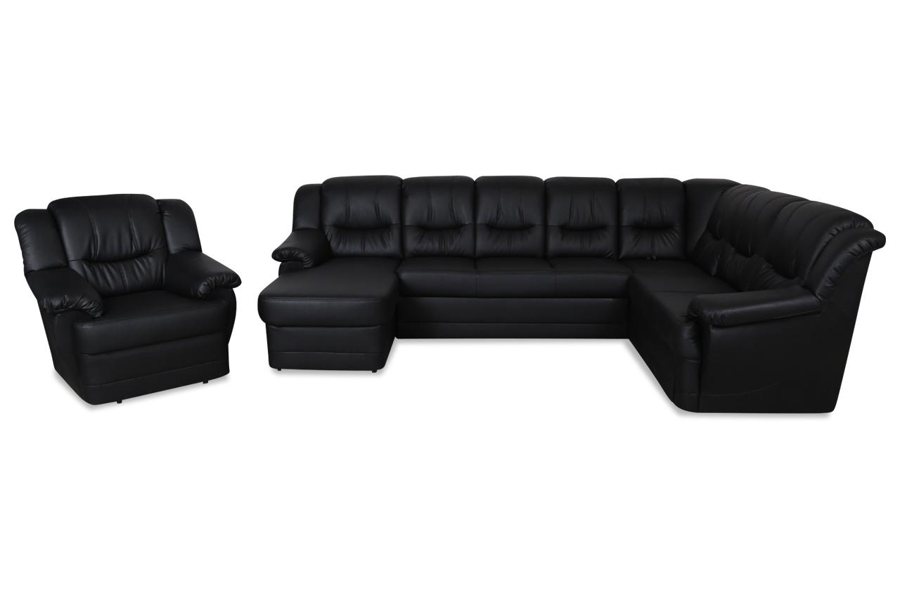 wohnlandschaft orion mit sessel mit relax und schlaffunktion schwarz sofas zum halben preis. Black Bedroom Furniture Sets. Home Design Ideas