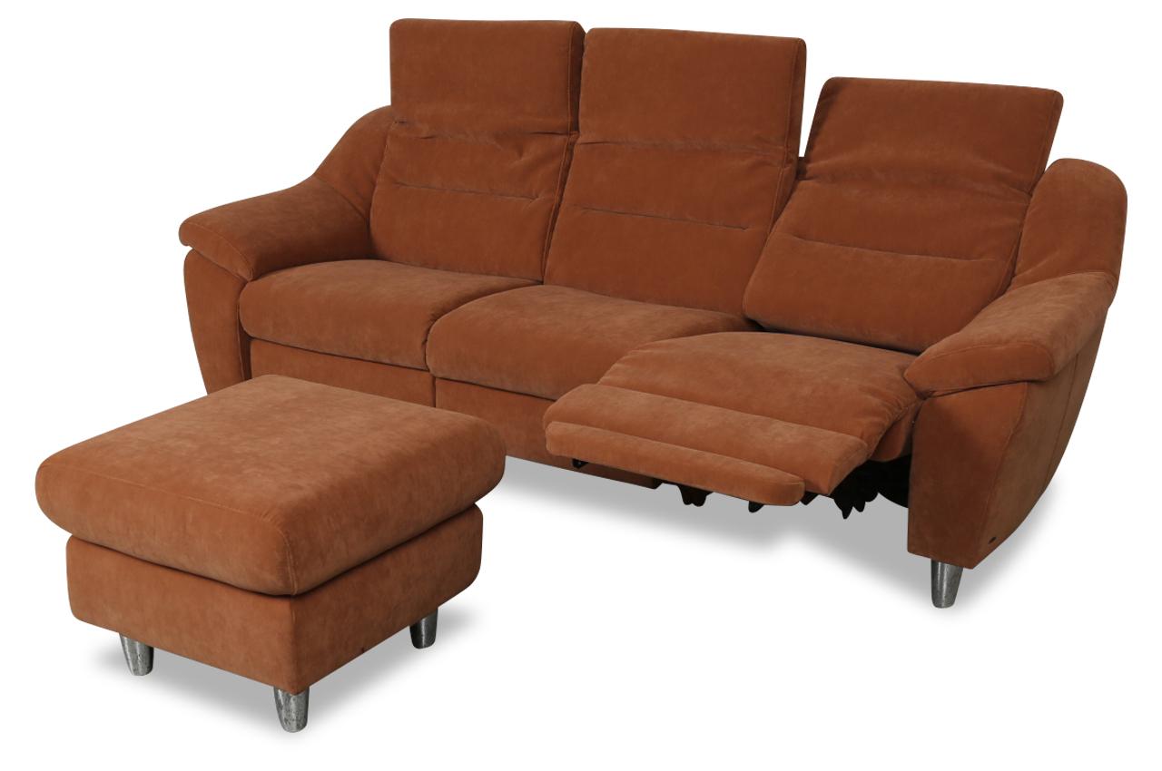 3er sofa mit hocker braun sofas zum halben preis. Black Bedroom Furniture Sets. Home Design Ideas