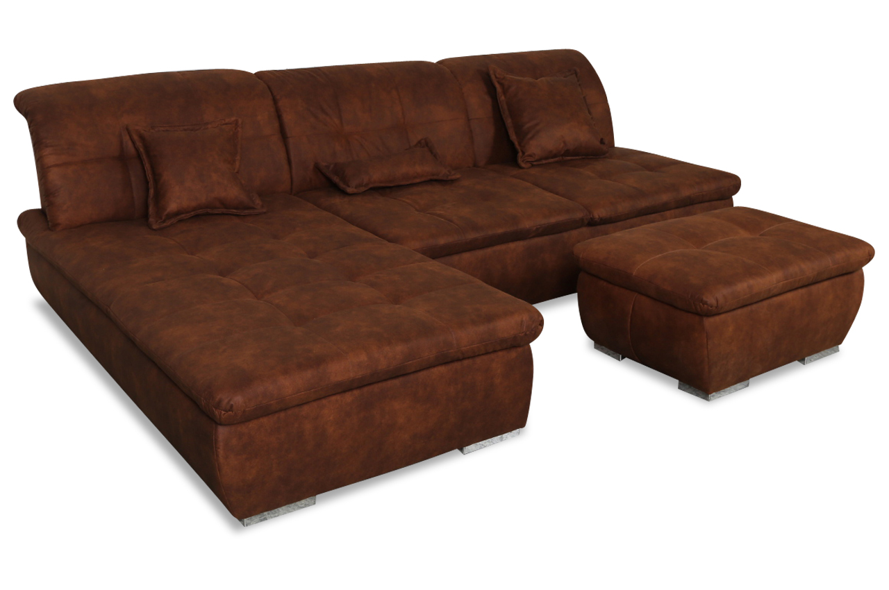 furntrade ecksofa calgarg mit hocker braun sofas zum. Black Bedroom Furniture Sets. Home Design Ideas