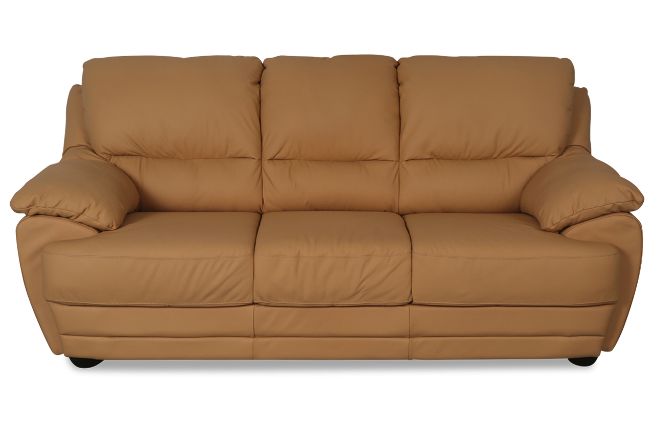 cotta leder 3er sofa nebolo gelb sofas zum halben preis. Black Bedroom Furniture Sets. Home Design Ideas