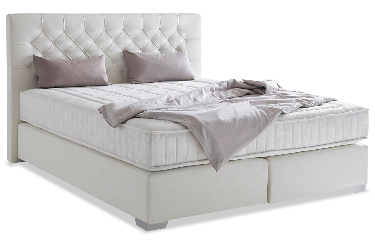furntrade boxspringbett 140x200 colmar weiss sofas zum. Black Bedroom Furniture Sets. Home Design Ideas