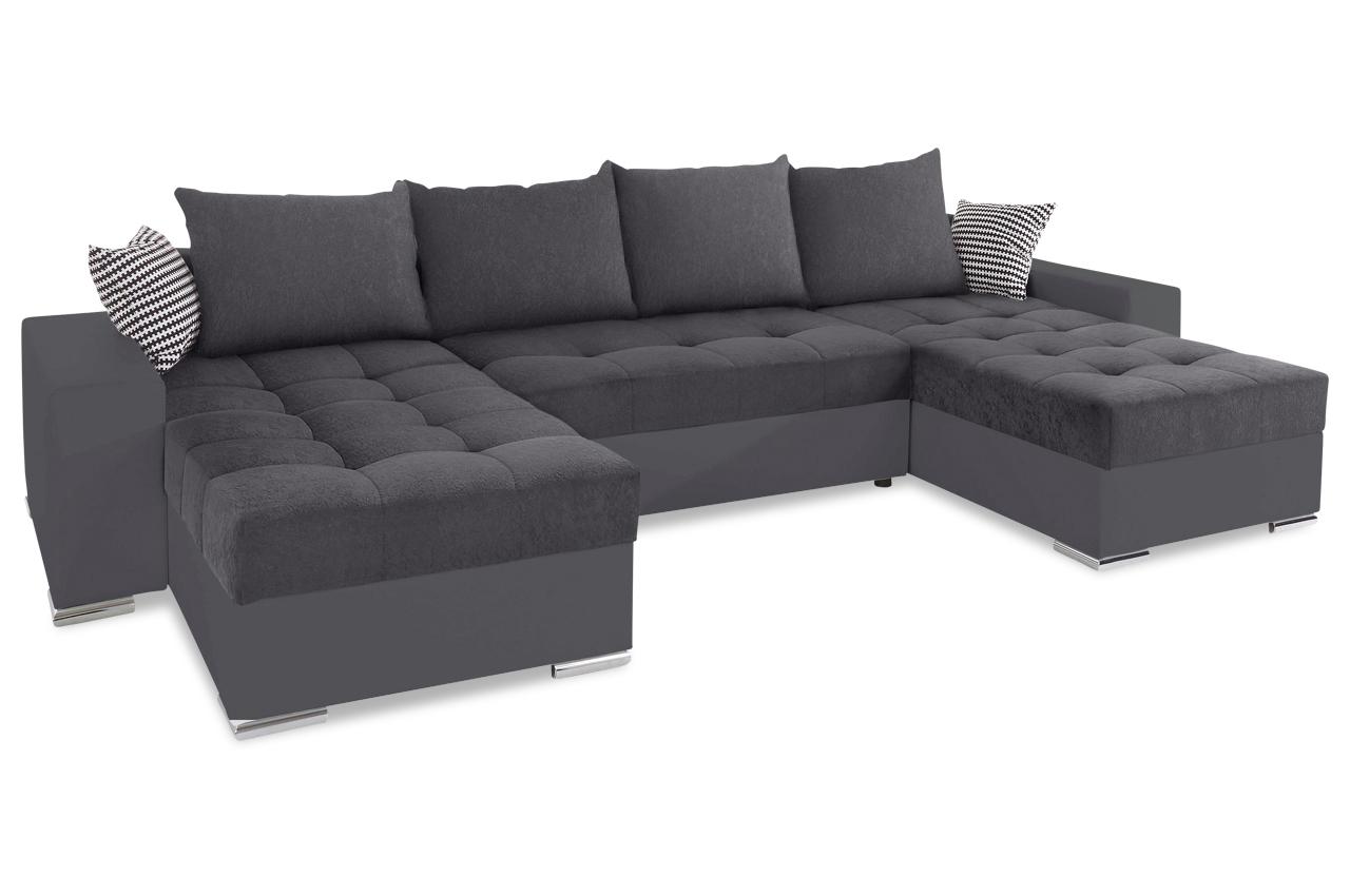 collection ab wohnlandschaft josy1 mit schlaffunktion grau mit federkern sofas zum halben. Black Bedroom Furniture Sets. Home Design Ideas