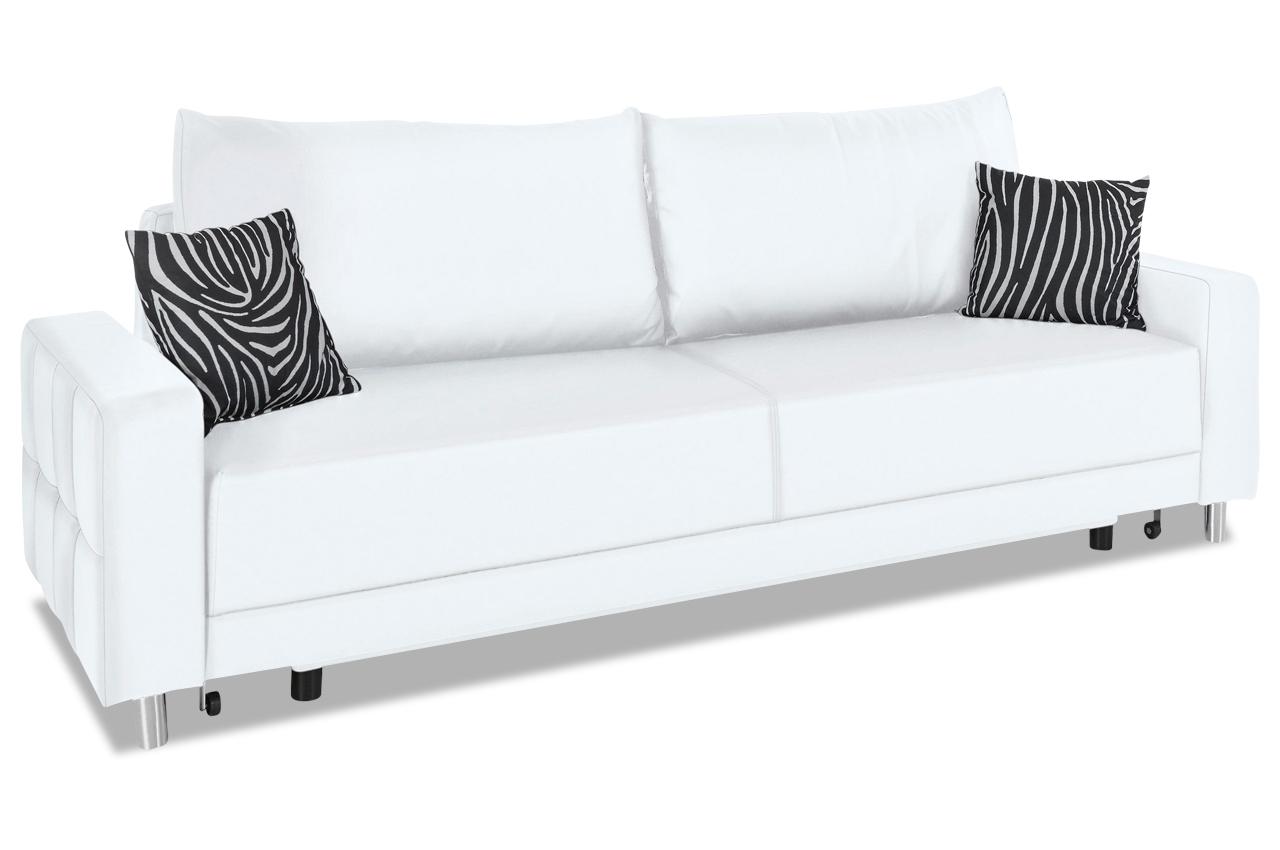 Collection AB 3er-Sofa Perugia New - mit Schlaffunktion - Weiss mit ...