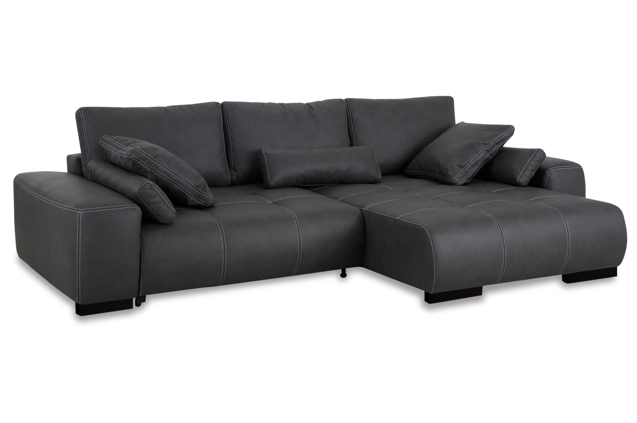 nova via ecksofa davis mit schlaffunktion anthrazit mit boxspring sofa co ebay. Black Bedroom Furniture Sets. Home Design Ideas