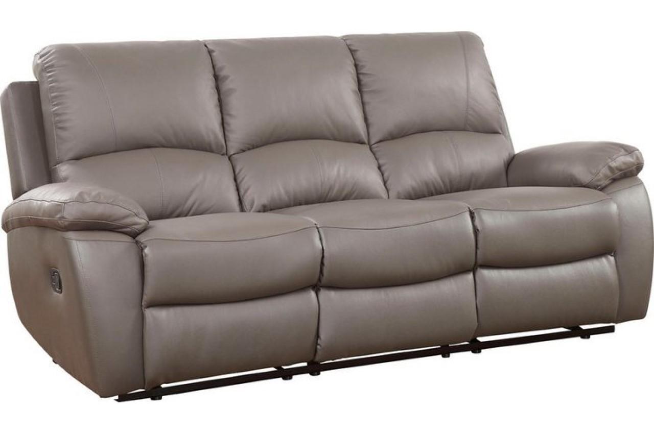 Furntrade Leder 3er Sofa Lion mit Relax Grau
