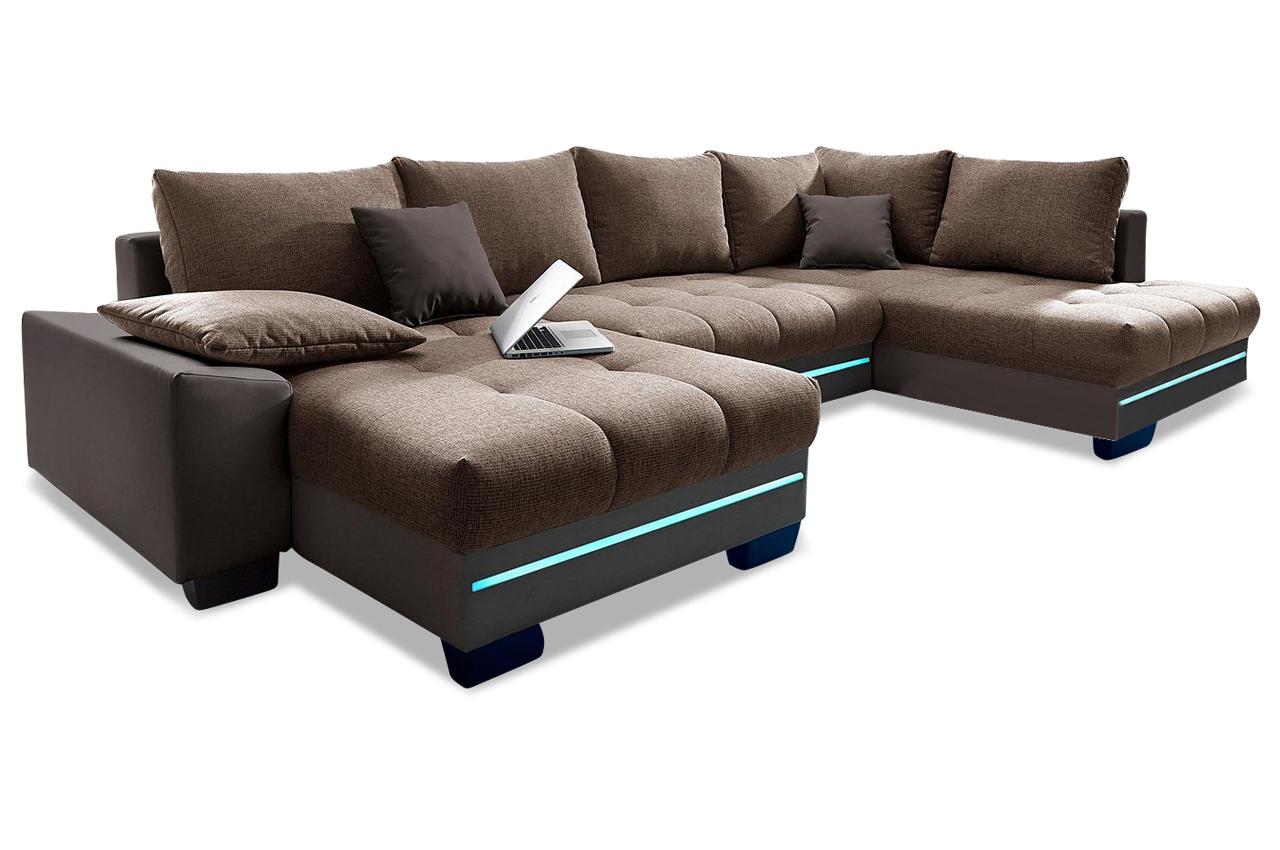 wohnlandschaft nikita mit led und sound und schlaffunktion braun sofas zum halben preis. Black Bedroom Furniture Sets. Home Design Ideas