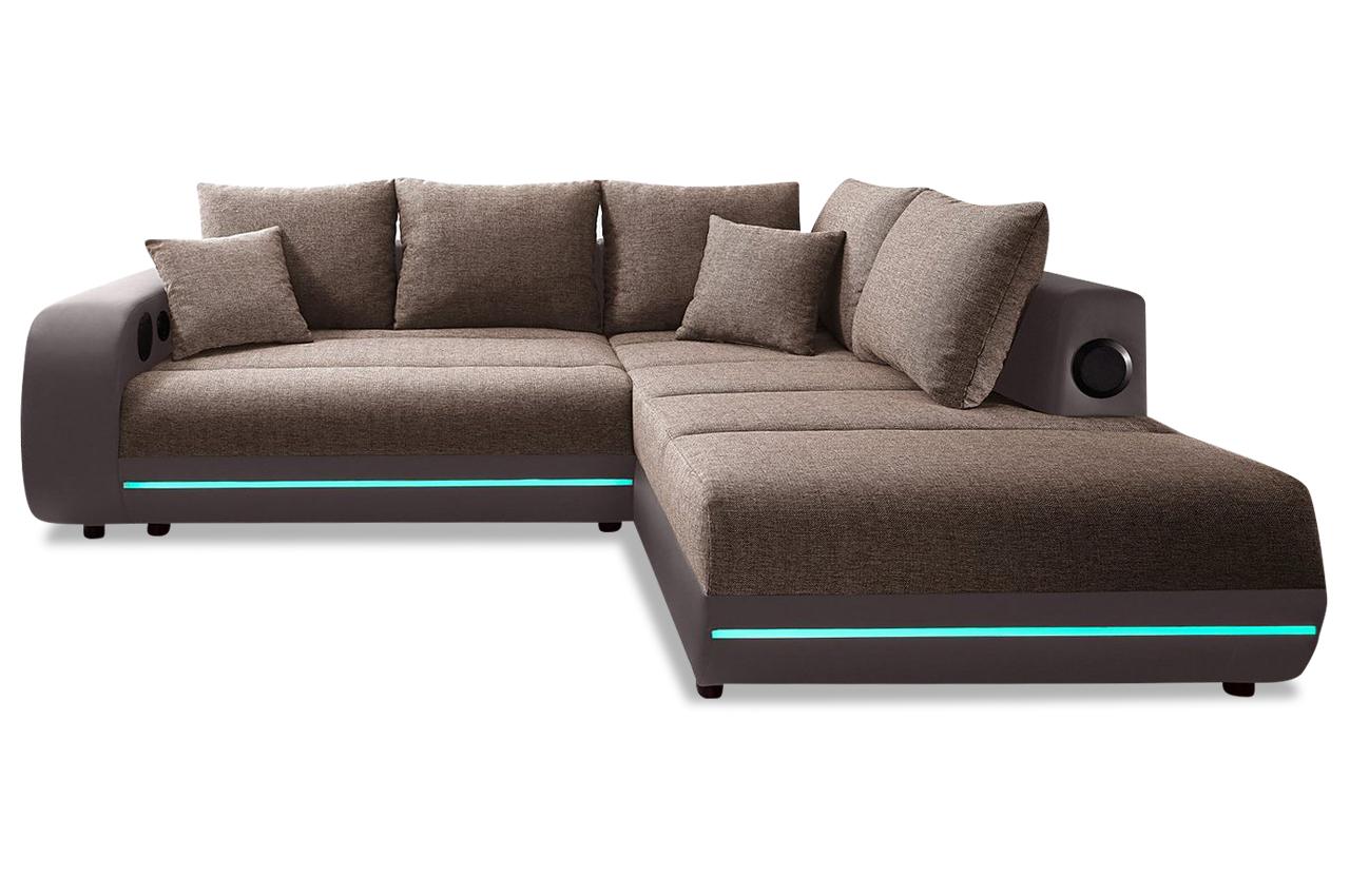 ecksofa xl trento mit led und sound braun sofas zum. Black Bedroom Furniture Sets. Home Design Ideas