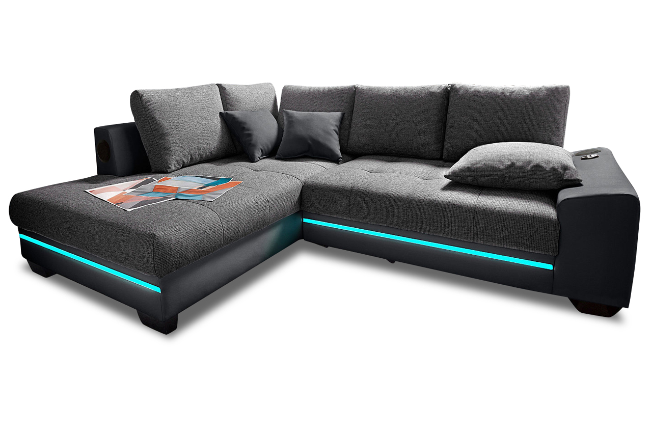 ecksofa xl nikita mit led und sound und schlaffunktion anthrazit sofas zum halben preis. Black Bedroom Furniture Sets. Home Design Ideas