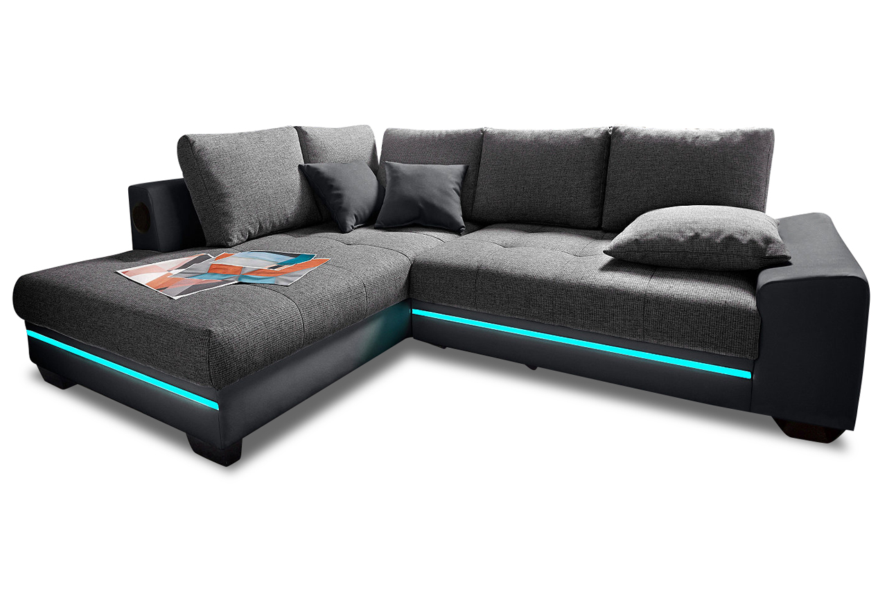 ecksofa xl nikita mit led anthrazit sofas zum halben preis. Black Bedroom Furniture Sets. Home Design Ideas