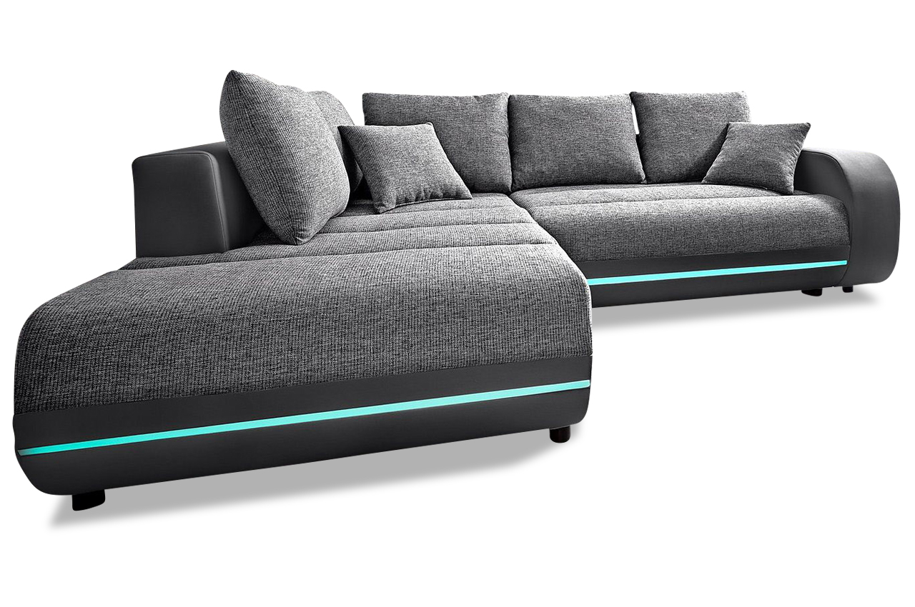 ecksofa xl trento mit led und sound und schlaffunktion. Black Bedroom Furniture Sets. Home Design Ideas