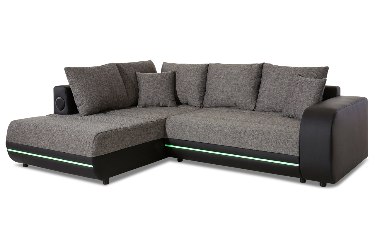 ecksofa xl trentino mit led und schlaffunktion anthrazit sofas zum halben preis. Black Bedroom Furniture Sets. Home Design Ideas