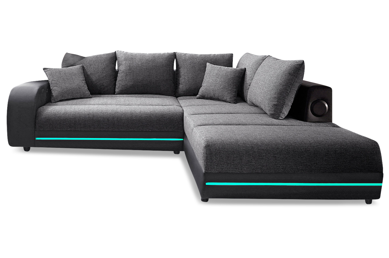 ecksofa xl trentino mit led und sound und schlaffunktion anthrazit sofas zum halben preis. Black Bedroom Furniture Sets. Home Design Ideas
