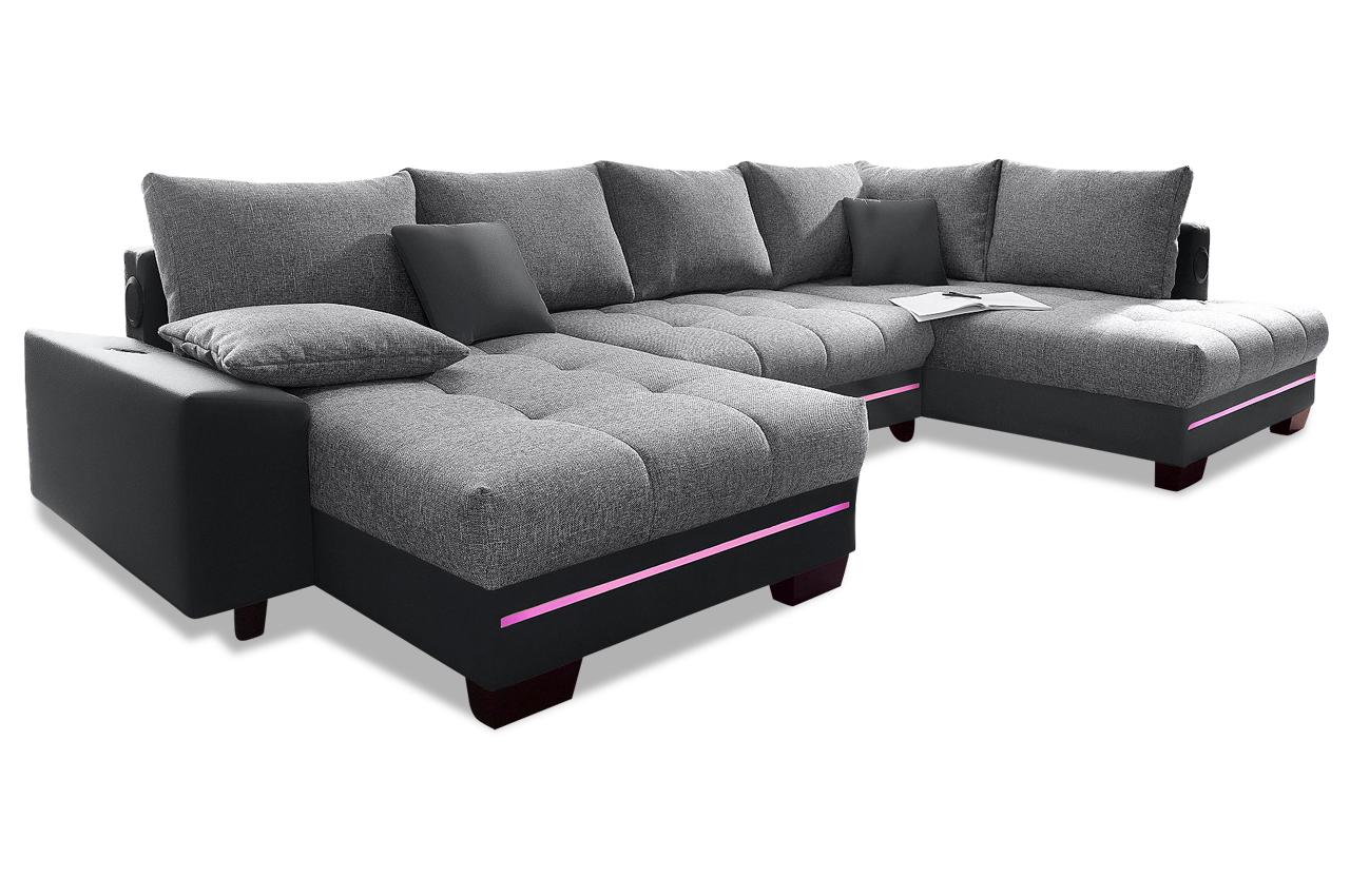 wohnlandschaft nikita rechts mit led und schlaffunktion. Black Bedroom Furniture Sets. Home Design Ideas