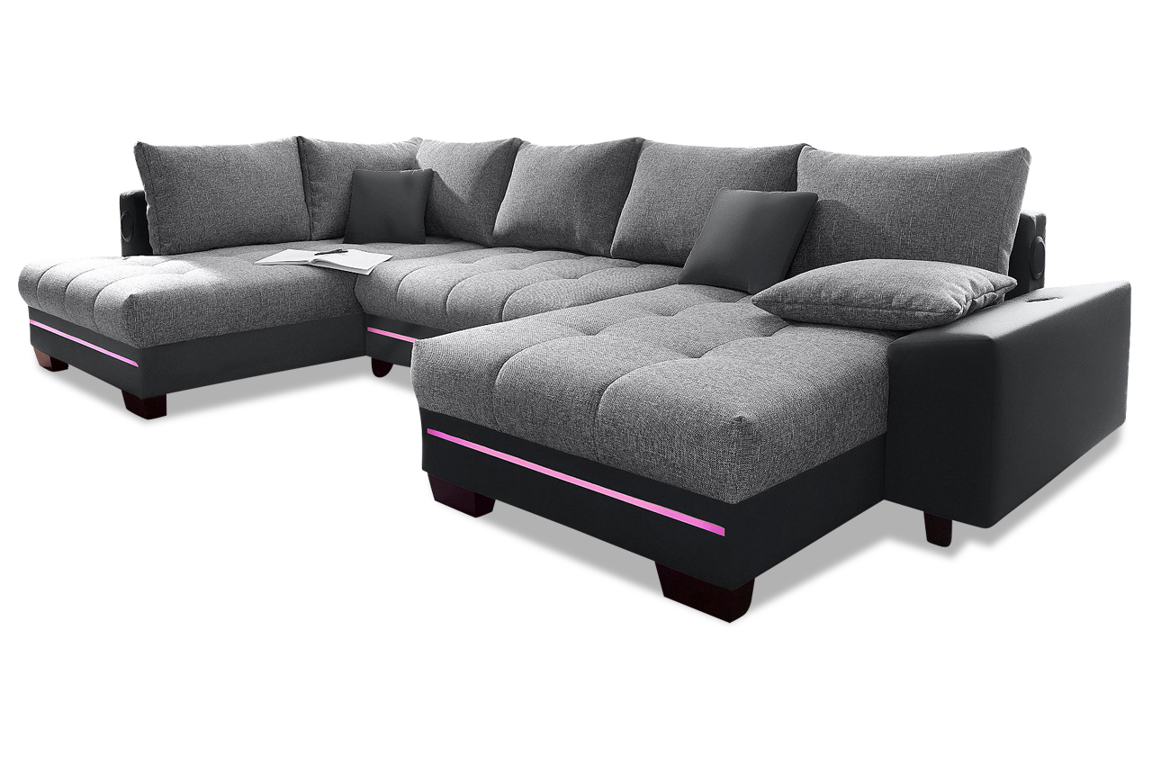 wohnlandschaft nikita mit led und schlaffunktion. Black Bedroom Furniture Sets. Home Design Ideas