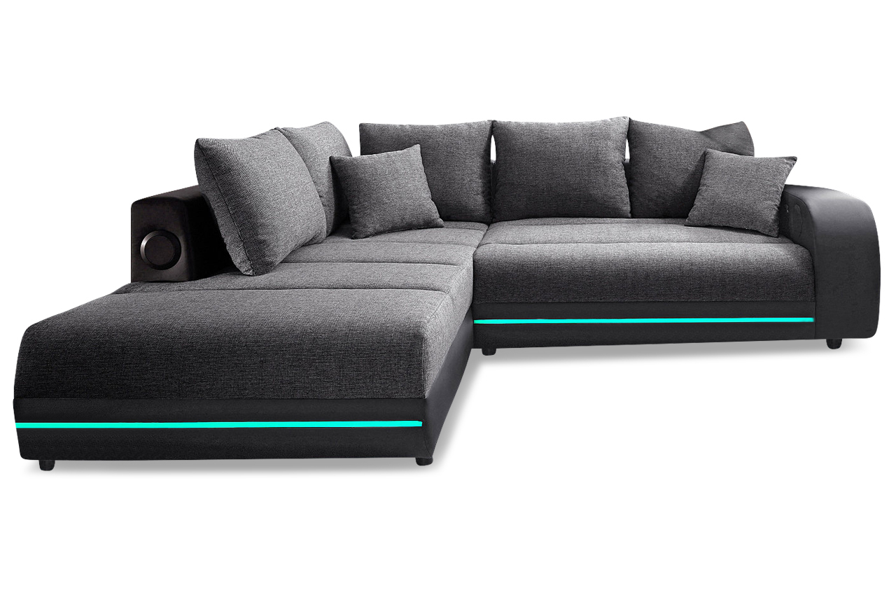 ecksofa xl trentino mit led und sound anthrazit sofas zum halben preis. Black Bedroom Furniture Sets. Home Design Ideas