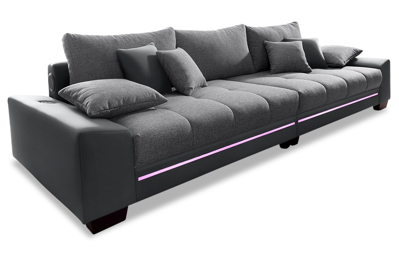 bigsofa nikita mit led und sound anthrazit sofas zum halben preis. Black Bedroom Furniture Sets. Home Design Ideas