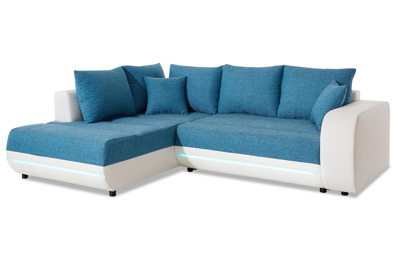 ecksofa xl trento xl mit led und schlaffunktion weiss. Black Bedroom Furniture Sets. Home Design Ideas