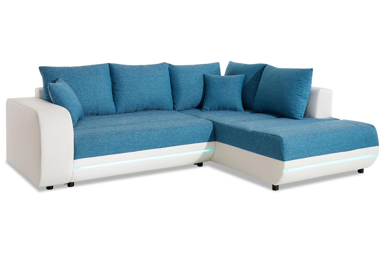 ecksofa xl trento mit led und schlaffunktion weiss. Black Bedroom Furniture Sets. Home Design Ideas