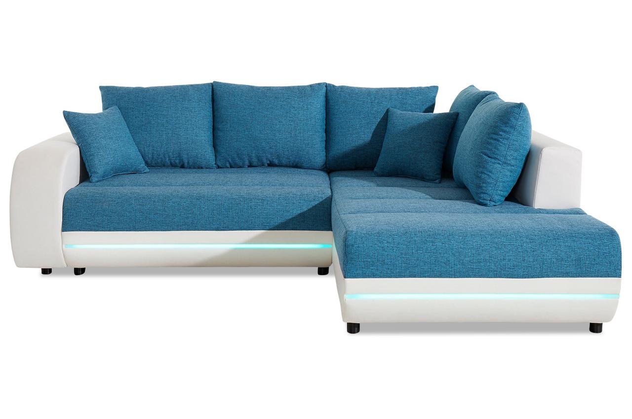 ecksofa xl trento mit led und schlaffunktion weiss sofas zum halben preis. Black Bedroom Furniture Sets. Home Design Ideas