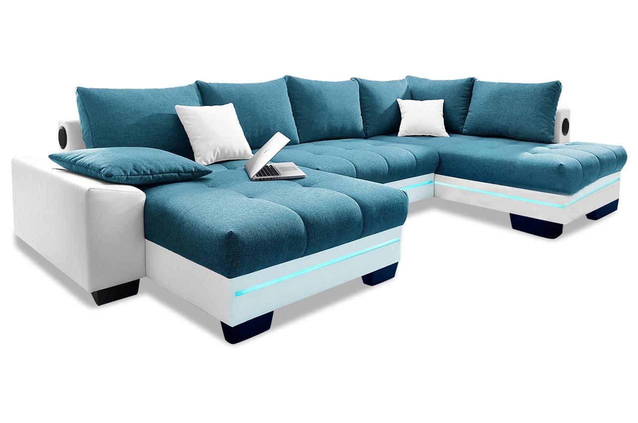 wohnlandschaft nikita mit led blau sofas zum halben preis. Black Bedroom Furniture Sets. Home Design Ideas